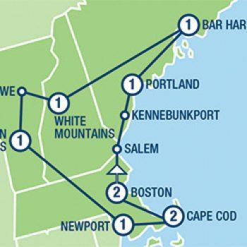 ארצות הברית, מפת טיול בוסטון