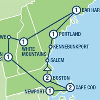 מפת הטיול ניו אינגלנד
